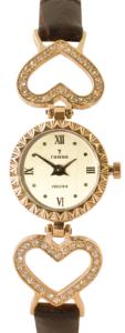Золотые часы на кожаном ремешке