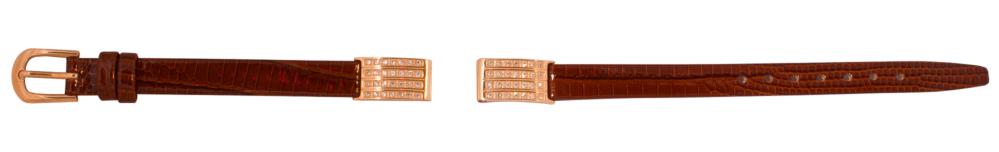 Ремешок кожаный с золотым браслетом